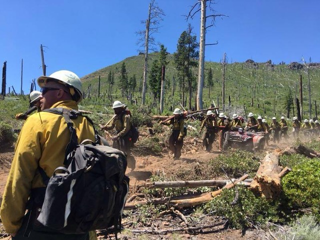 A hand crew moves to a new section of line on the south flank of the Ana Firenear Summer Lake, Oregon, on Wednesday, July 12, 2017.
