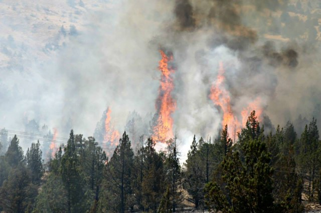 Flames from the Warm Springs fire continued to advance Friday.