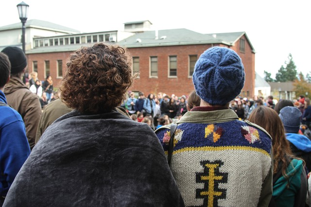 Students engaged in a sit-in at Lewis and Clark College in Southwest Portland, Nov. 18, 2015, after racist comments surfaced on a social media site.
