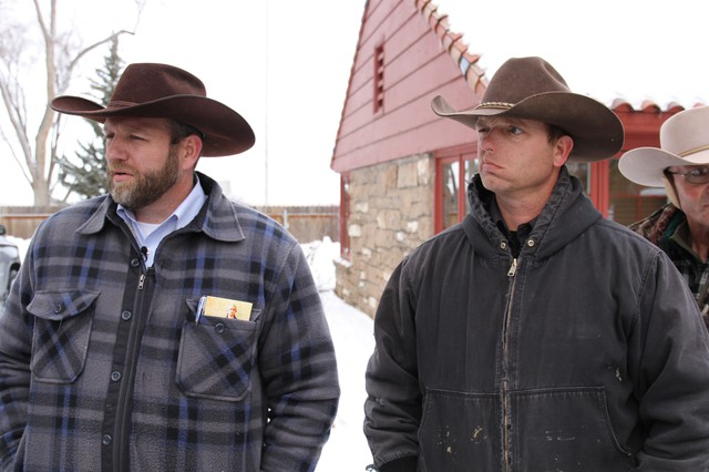 Ammon, left, and Ryan Bundy will remain in custody in Oregon as they await trail for their role in the occupation of the Malheur National Wildlife Refuge. U.S. Marshals wanted to transferring them and Ryan Payne to Nevada for hearings related to a 2014 standoff.