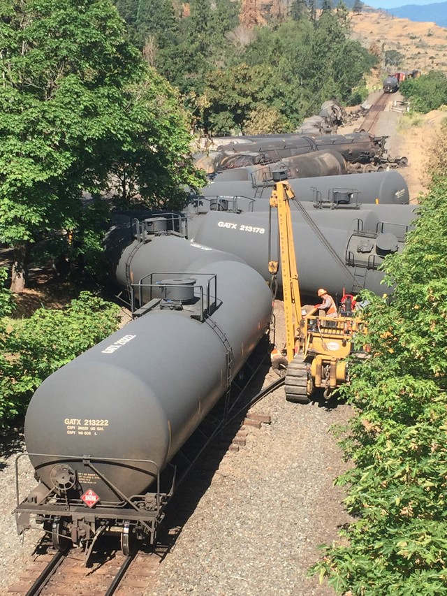 Officials with Union Pacific Railroad Company say 16 oil tanker cars derailed. They point to a faulty railroad tie as the possible cause. At least three of the cars caught fire in the accident.