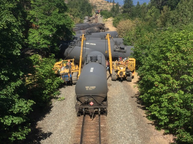 Crews worked throughout the weekend to respond to the accident, which damaged Mosier's waste water treatment plant and sewer lines.  At least 100 people were evacuated from the tiny town along the Columbia River. Schools were also closed as a result of the accident.