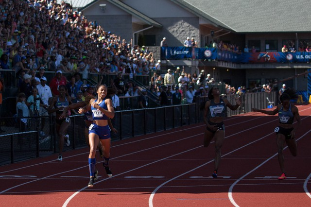 Olympic veteran Allyson Felix breaks through the shadow of the Hayward Field grandstand to take first place in the women's 400-meters in 2016. It was the fastest 400 of the year at that point.