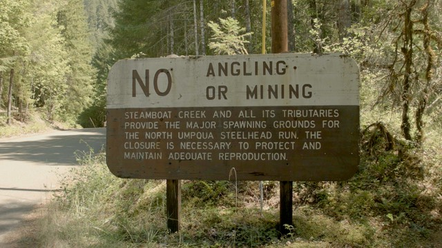 Sign at the mouth of Steamboat Creek on the North Umpqua River.