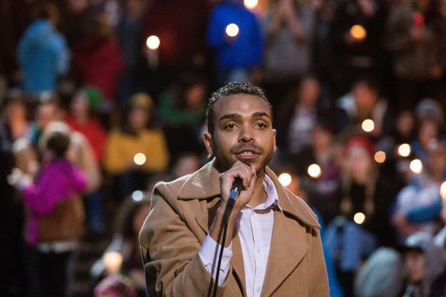 Gregory McKelvey of Portland's Resistance addresses a crowd of supporters Sunday, Nov. 13, 2016, at a rally on the Portland Waterfront.