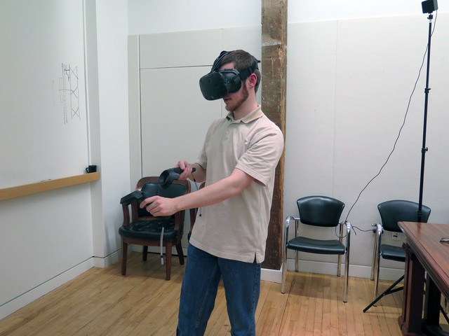 SERA Architects software developer Marshall Nystrom in the VR visualization.