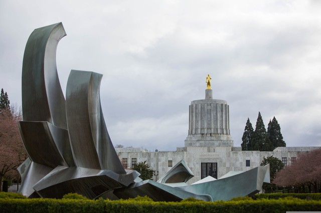 The Oregon Capitol in Salem. As lawmakers continue to debate whether to change how the state taxes businesses, some public employee unions say they'll take the question to voters again.