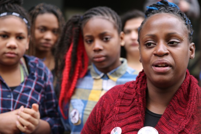 Venus Hayes with two of Quanice Hayes' sisters. Speaking in March, Hayes said she does not trust the Multnomah County District Attorney's office and wants the federal government to investigate her son's death.