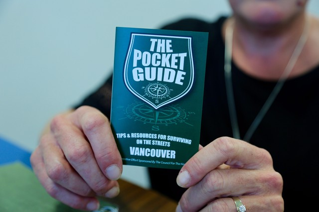 The guidebook is small enough to fit in the palm of your hand and is printed on waterproof and tear-proof material. It's filled with survival tips, resource lists, and phone numbers to homeless service providers.