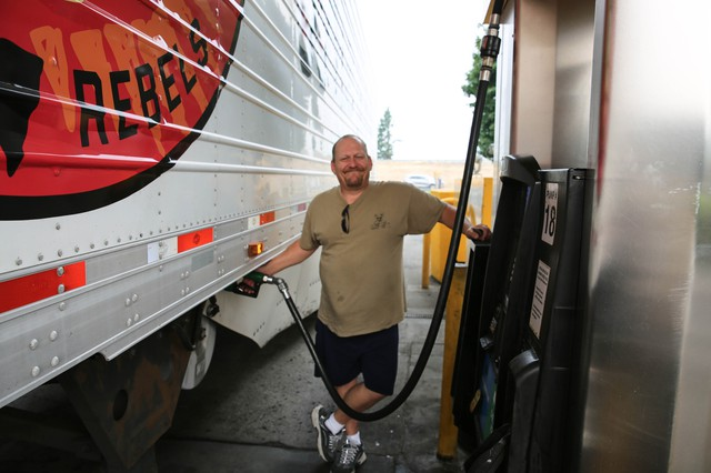 David Cassidy drives truck for B4 Transport. He said the closure of Interstate 84 is doubling the time it takes him to make deliveries and costing more in fuel.