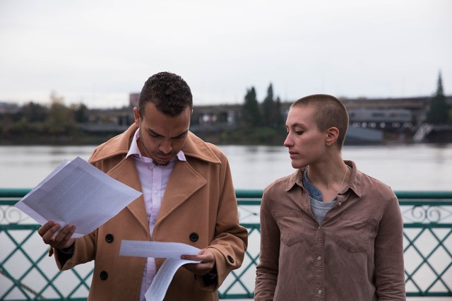 Portland's Resistance spokespeople Gregory McKelvey and Kathryn Stevens prep ahead of a rally on Sunday, Nov. 13, 2016.