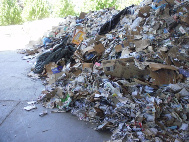 Piles of unsold recycling at Southern Oregon Aspire in Grants Pass.