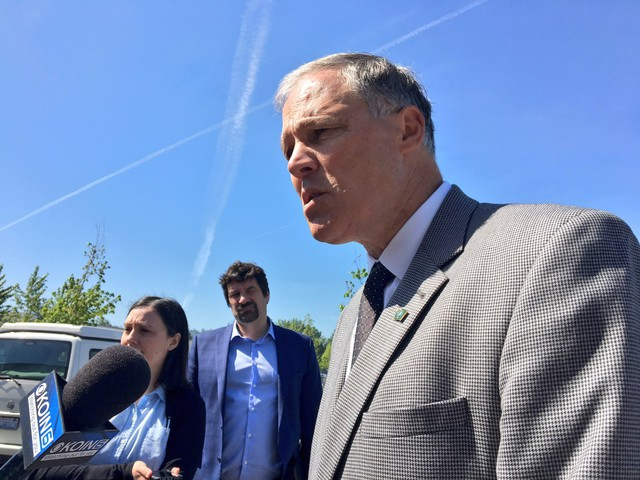 Speaking in Washougal, Washington, Washington Gov. Jay Inslee briefs reporters on the scene at the Hanford Nuclear Site Tuesday, May 9, 2017.