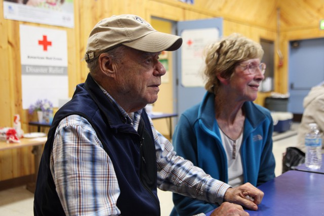 Ford and Monica Williams seek shelter at the Red Cross Relief Center in Gold Beach, Oregon. They got no evacuation warning and had to leave their home at 7 p.m. Sunday evening as the fire raced towards it.