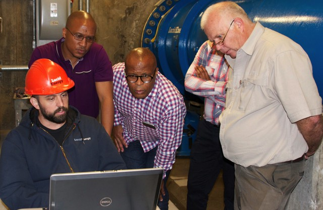 Johannesburg officials visit the Lucid Energy hydropower project in Portland.