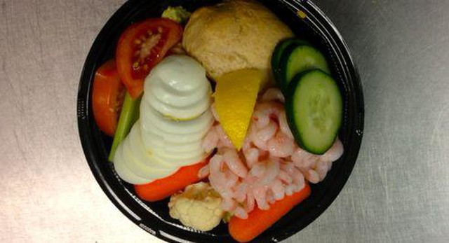 All 16,000 students in the Bend-La Pine School District have the option of eating Oregon shrimp in a number of school lunch dishes this year, including this shrimp salad.