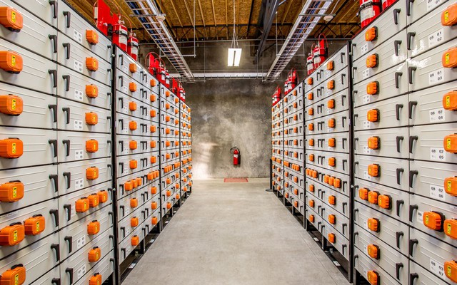 The Salem Smart Power Center opens today with the battery power of 1,440 electric cars. A room full of batteries, shown here, will be used to store renewable energy when the wind is blowing and the sun is shining so it can be used later when power is in short supply.