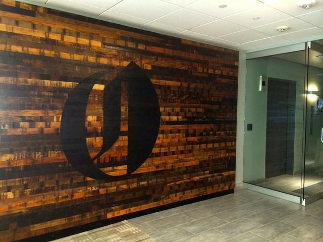 """The Oregonian reports that the """"O"""" logo was burned into a reclaimed wood wall with a torch."""