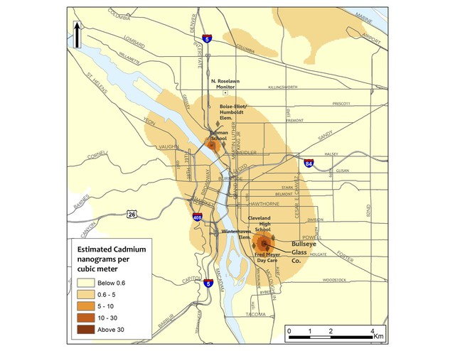 A map of elevated cadmium levels in Portland shows two hot spots. Two glass-makers that use cadmium near these areas have volunteered to stop using the metal in making colored glass.