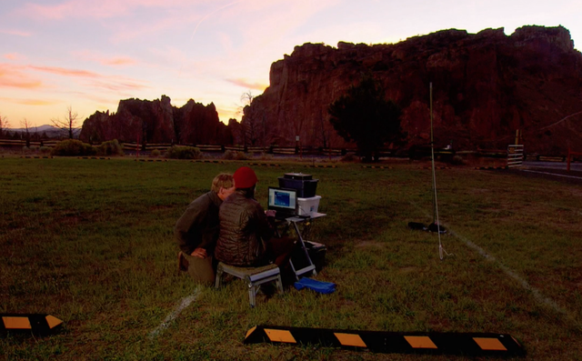 Tom Rodhouse of the National Park Service and retired federal biologist Pat Ormsbee test out equipment to record bat calls at Smith Rock State Park.