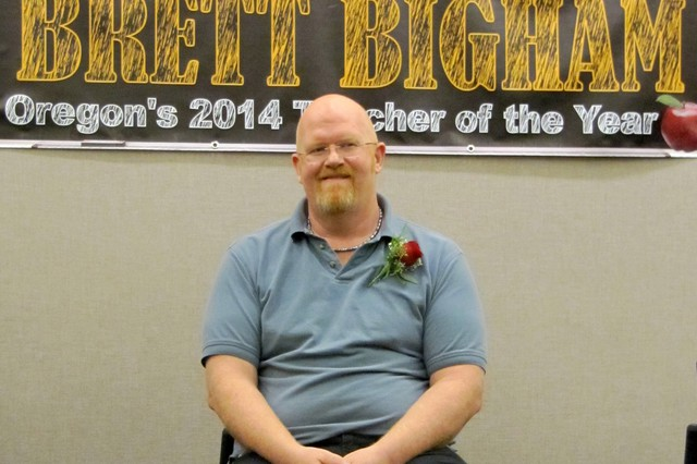 """""""Not everyone wants to go to college, not everyone can afford to go to college."""" Special education teacher Brett Bigham, 2014 Oregon Teacher of the Year."""