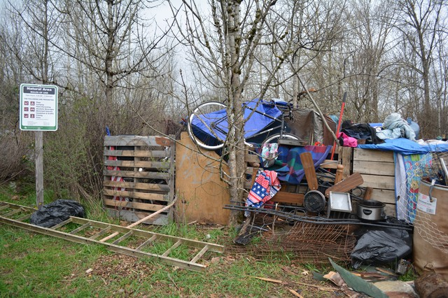 A homeless camp in Beggar's Tick Wildlife Refuge.