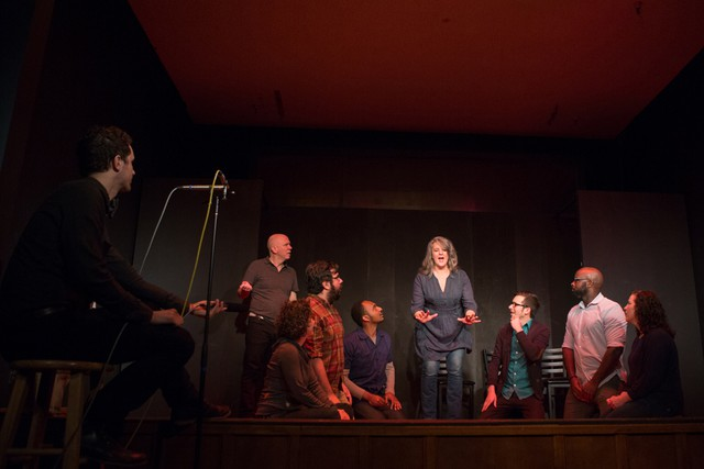 Members of the Leviathan improv crew turn producer Aaron Scott's stories into madcap sketches. Monks who rap? Dinosaur mechanics? All in an evening's work.