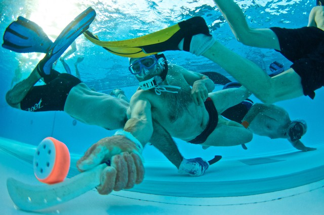 Portland's underwater hockey club meets every Tuesday at the Mount Hood Community College Aquatic Center.