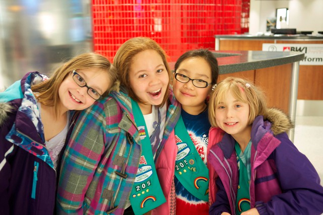 Girl Scouts in Maryland pose for a picture.