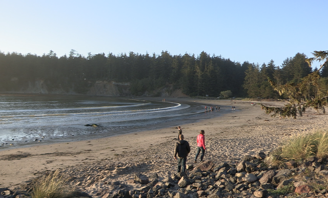 The beach at Sunset Bay State Park near Coos Bay is popular during the summer.