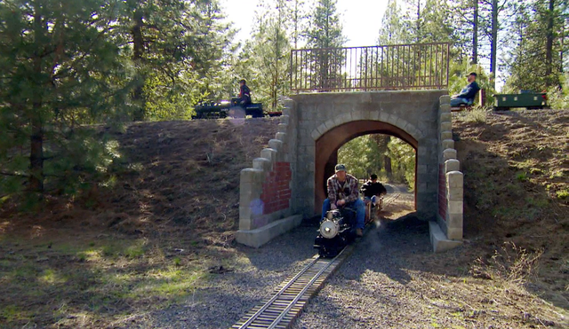Over bridges and through tunnels, riders have 36 miles of track to enjoy at Train Mountain.