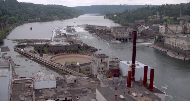 From above, Oregon's largest falls seem small compared to the surrounding industrial buildings.