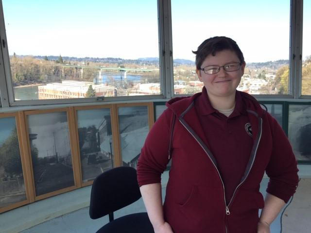 Waldo McGuiness operates the elevator in Oregon City and is considered an essential employee.