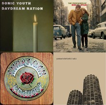 Some of the artists influenced by the Anthology of American Folk Music. Clockwise from top left: Sonic Youth, Bob Dylan, Wilco, and the Grateful Dead