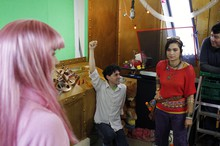 Creator Scotty Iseri directs the action during a fight sequence between hero Pavi (right) and villain Becky Galaxy (left).