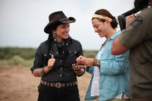 Time Team America'sChelsea Rose and Justine Shapiro examine findings in Badger Hole,Oklahoma.