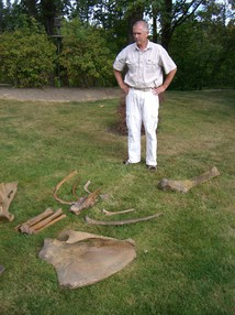 Mike Full stands next to huge bones from a mammoth skeleton.