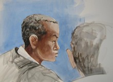 A courtroom sketch of Mohamed Mohamud, who was convicted forplotting to bomb Portland's holiday tree-lighting ceremony in 2010.