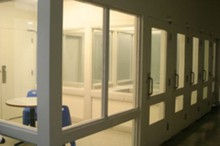 The visitation area at Klamath County Jail.