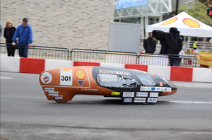 The Shell Eco-marathon competition is not a speed race. The object to maximize fuel-efficiency means top speeds rarely exceed 30 mph.
