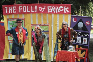 """Jim Plunkett, Jan Zuckerman, and Bonnie McKinlay (left to right) perform in an original skit titled """"The Folly of Frack""""."""