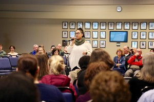 Students, faculty and community members gather at Clark College to discuss reports of recent hate incidents on campus. Lexi Peterson-Burge, a student, talks about her own experiences of racism at the school.