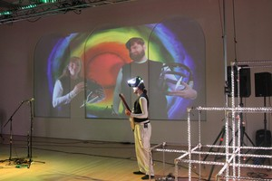Myles de Bastion, founder of CymaSpace, performing at the Art Gym at Marylhurst University.