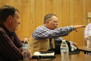 Grant County Commissioner Sam Palmer, right, with Deschutes County Commissioner Tony DeBone, at a meeting of local officials in Prairie City, Oregon, June 11, 2020.