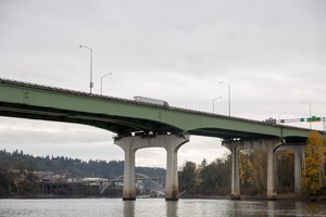 The Interstate 205 Abernethy Bridge is visible from the Willamette River waterfront in Oregon City on Sunday, Dec. 16, 2018.