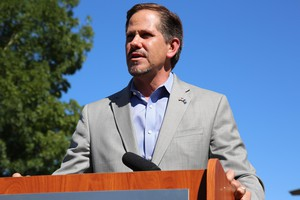 Republican candidate for Oregon Governor Knute Buehler speaks about his plans for health care at press conference in Bend on Wednesday, July 18, 2018.