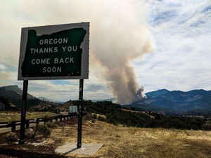 Smoke from the Klamathon Fire is observed just across the Oregon border in California on Friday, July 6, 2018.