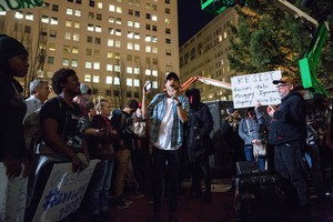 A third night of protests took place in Portland on Nov. 10, 2016, as crowds demonstrated against the election of Donald Trump as well as other issues.