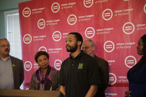 Adrian Wayman, founder and owner of Green Box, speaks at the Urban League of Portland on March 11, 2019.