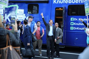 Republican gubernatorial candidate Knute Buehler arrives for his third and final debate with Gov. Kate Brown.
